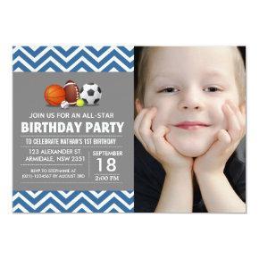 Custom an all-star sport birthday party photo Invitations