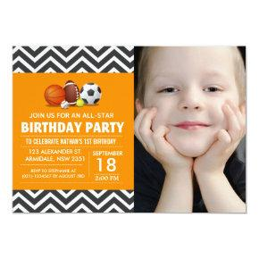 Custom an all-star sport birthday party photo Invitations