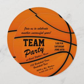 Custom Basketball Team Party Invitation