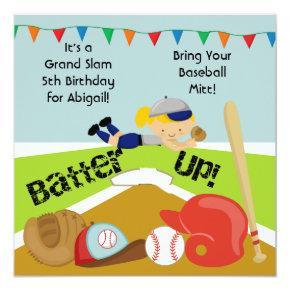 Custom Blond Girl Softball Birthday Invitations