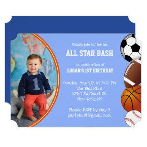 Custom Blue All Star Sports Photo Birthday Invitation