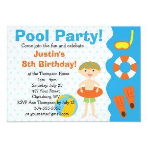 Custom Boy Birthday Pool Party Invitations