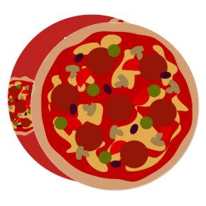 Custom kid's round pizza Birthday party invitation