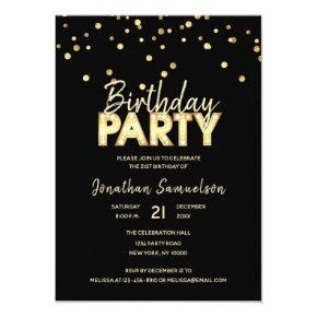 Custom Modern Trendy Gold Black BIRTHDAY PARTY Invitation