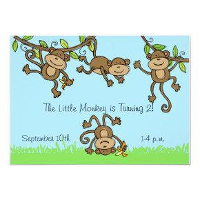 Custom Monkey Around Animals Birthday Invitation