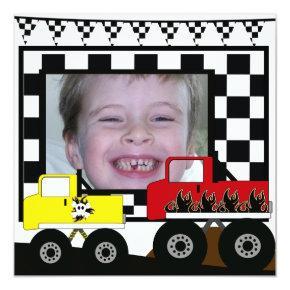 Custom Monster Truck Photo Birthday Invitations