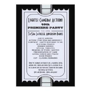 CUSTOM Movie Party Program Admission Ticket