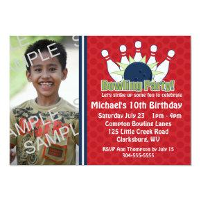 Custom Photo Bowling Birthday Party Invitations