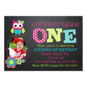 Custom photo Owl 1st Birthday invitation