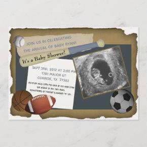 Custom Sports Baby Shower/Birthday Invitation