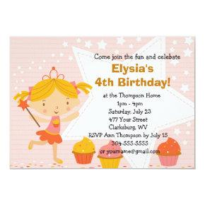 Customizable Fairy Princess Cupcake Birthday Party Invitation