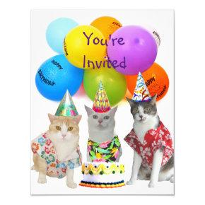 Customizable Funny Cats Birthday Party Invitations