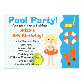 Customizable Girl's Pool Party Birthday Invitations