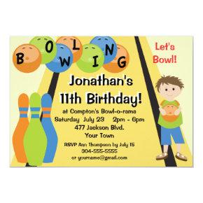 Customizable Let's Go Bowling Birthday Party Invitation