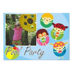 Customized Photo Pool Party Swimming Birthday Invitations