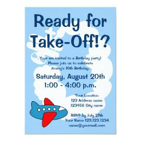 Cute airplane Birthday party invitations for kids