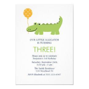 Cute Alligator Birthday Party Invitation