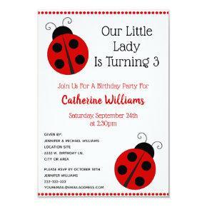 Cute Animal Ladybug Polka Dot Girl Birthday Party Invitations
