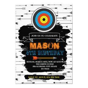 Cute Archery Party Birthday Invitation