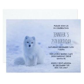 Cute Arctic Fox on Snow Birthday Party Invitation