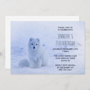 Cute Arctic Fox on Snow Birthday Party Invitation