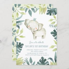 Cute Baby Elephant Prince Tropical Jungle Birthday Invitation
