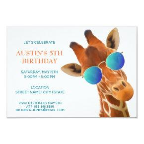 Cute Baby Giraffe in Sunglasses | Party Invitation