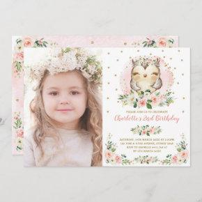 Cute Baby Owl Blush Pink Gold Flowers Birthday Invitation
