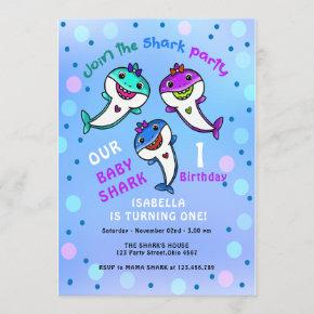 Cute Baby Shark Birthday Invitation