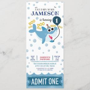 cute baby shark birthday ticket admit one invitation