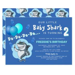 Cute Baby Shark | Blue Balloons Birthday Invitation
