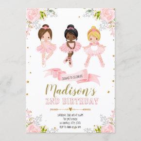 Cute ballerina birthday shower invitation