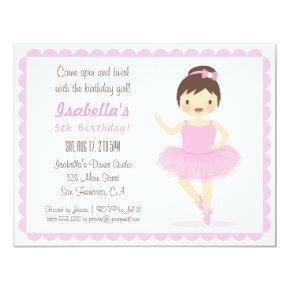 Cute Ballerina Girl Birthday Party Invitations