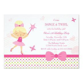Cute ballerina girl's birthday party Invitations