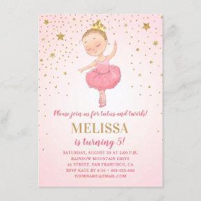 Cute Ballerina Pink Gold Glitter   Girl Birthday Invitation