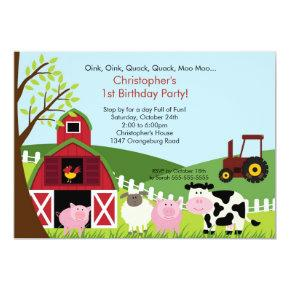 Cute Barnyard Animal Fun Birthday Party Invitation