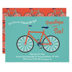 Cute Bicycle Kids Bike Birthday Party Cycling Invitation