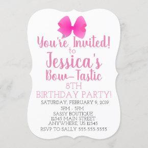 Cute Big Pink Girly Bow Bow-Tastic Birthday Party Invitation