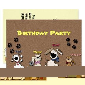 Cute Birthday Party Invitation/ Cats & Dogs Card