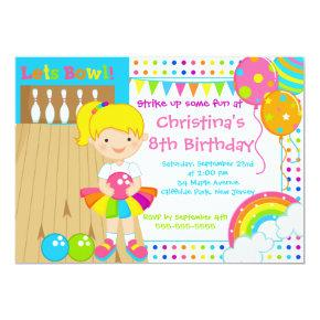 Cute Blond Girl Bowling Birthday Party