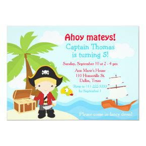 Cute Blonde Pirate Boy Birthday Party Card