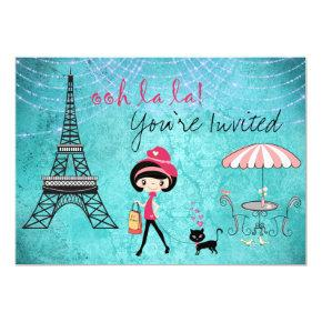 Cute Blue Girl and Cat Paris Birthday Invitations
