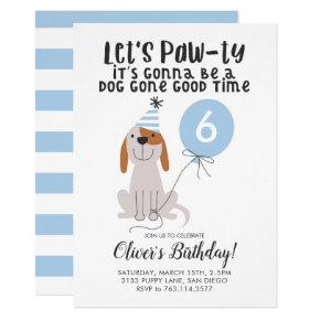 Cute Blue Puppy Dog Birthday Party Invitation