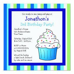 Cute Blue Sprinkle Cupcake Birthday Boy Invite