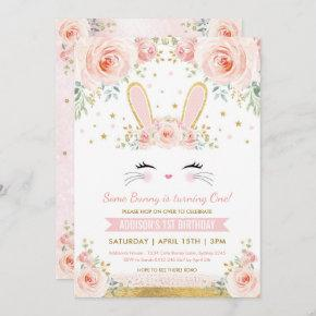 Cute Blush Floral Bunny Rabbit Birthday Party Invitation