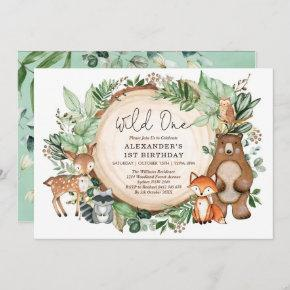 Cute Botanical Woodland Animals Wild One Birthday Invitation