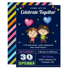 Cute Boy and Girl Twin Birthday Party Invitations