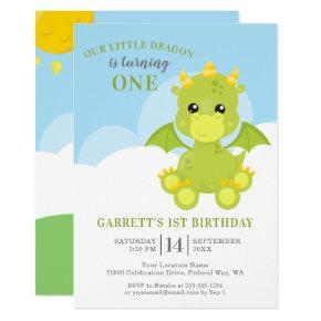 Cute Boy Dragon 1st Birthday Invitation