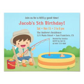 Cute Boy Loves Fishing Birthday Party