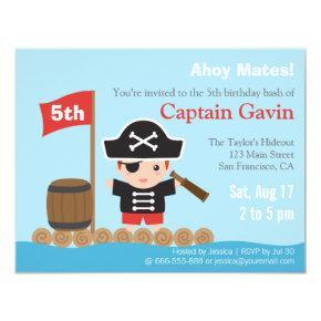 Cute Boy Pirate Birthday Party Invitation